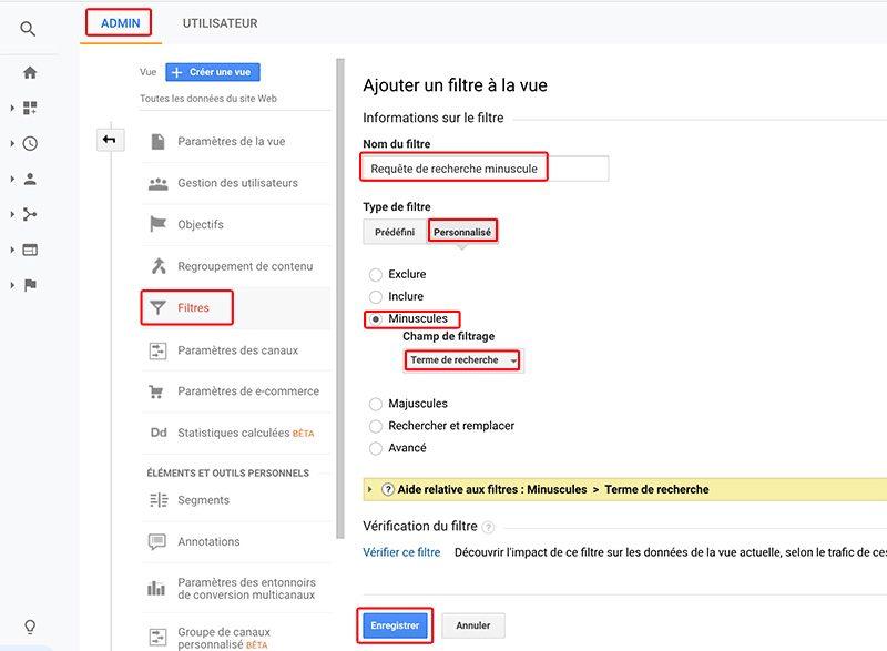 Filtrage sur Google Analytics